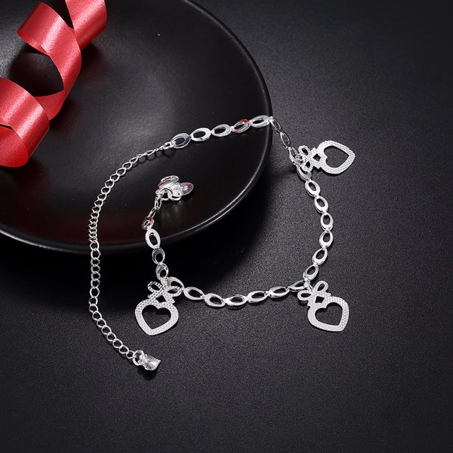 3 Heart Shape Hollow Design Accessorise Anklets For Women Casual Jewelry Fashion Foot Chain