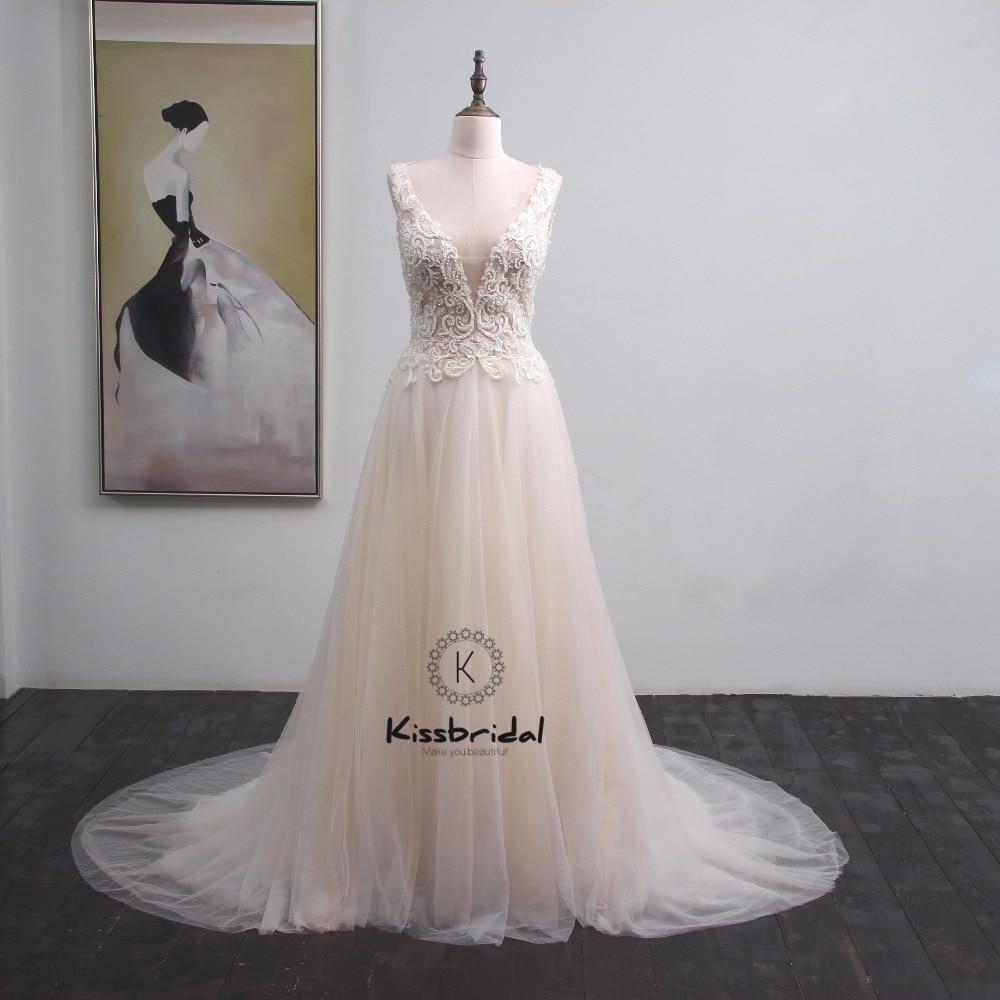 Trouwjurk платье vestido de casamento Новый Аппликация Свадебное платье из фатина Boho v образным вырезом молния Назад Свадебное платье без рукавов