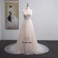 trouwjurk vestido de casamento New Appliqued Tulle Wedding Dress Boho V neck Zipper Back Bridal Gown Sleeveless