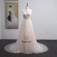 trouwjurk vestido de casamento New Appliqued Tulle Wedding Dress Boho V neck Zipper Back Bridal Gown Sleeveless