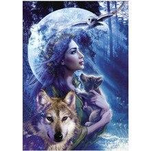DIY 5D diamond painting animal wolf girl landscape cross stitch mosaic diamond embroidery rhinestone decoration craft стоимость
