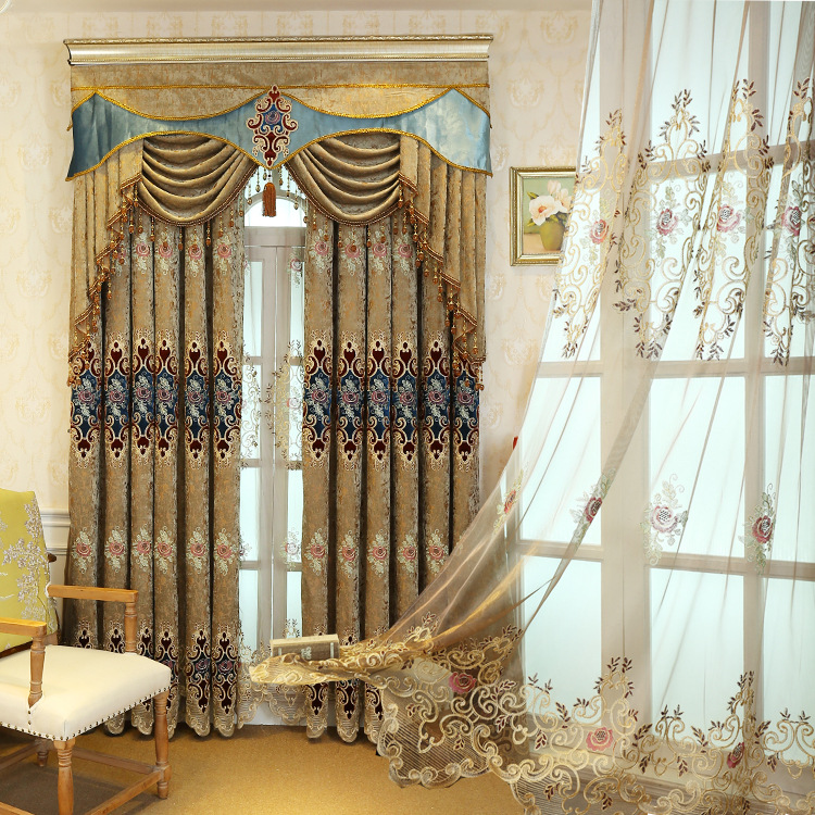 European style High grade Curtain Chenille Embroidery Shade Luxury Valance Curtians for Living Room Bedroom Floor Windows