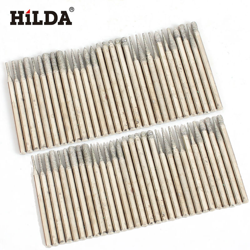 HILDA 60pcs Dremel Style Diamond Burr Bit Set For Dremel Rotary Tools 1/8 150 Grit Dremel Rotary Tool Dremel Tools Accessories mx demel high quality 17pcs 1 2 felt polishing wheels dremel accessories fits for dremel rotary tools dremel tools small
