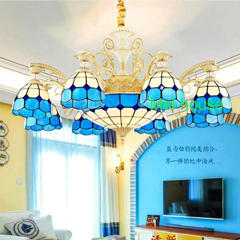 tiffany colorful church chandeliers glass cover shade dining room deluxe tiffany lamp restaurant glass chandelier led - Tiffany Chandelier