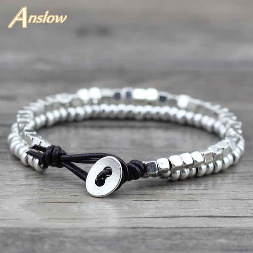 Anslow Wholesale Designer Fashion Jewelry Zinc Alloy Beads Leather Bracelet For Women Men Kids Girl Free Shipping LOW0406LB vintage alloy engraved beads anklet for women