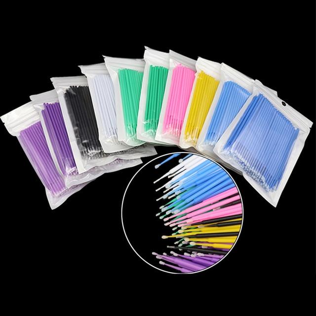 100 PCS Disposable Cotton Swab Eyelash Extension Tools Mascara Applicator Brush lashes extension makeup applicator remove tool 5