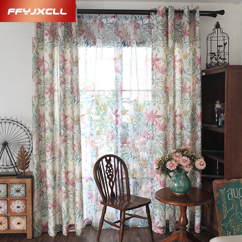 check MRP of floral cotton curtains
