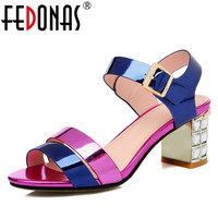 FEDONAS New Gladiator Women Genuine Leather Sandals Crystal High Heels Mix color Fashion Shoes Woman Female Wedding Party Sandal