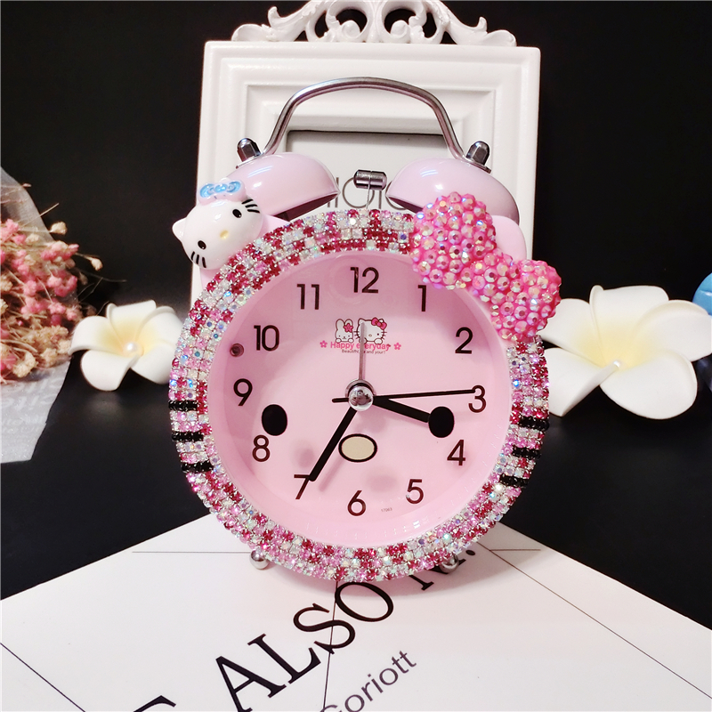 Hello Kitty Kitty Alarm Clock Creative Student Childrens Alarm Clock Cartoon Mute Bedside Clock Cute Little Alarm Clock