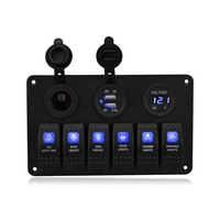 Fishberg 6 Gang Led Rocker Switch Panel 12v USB Car Cigarette Lighter Socket Auto Boat Marine Car Switch Panel Circuit Breaker