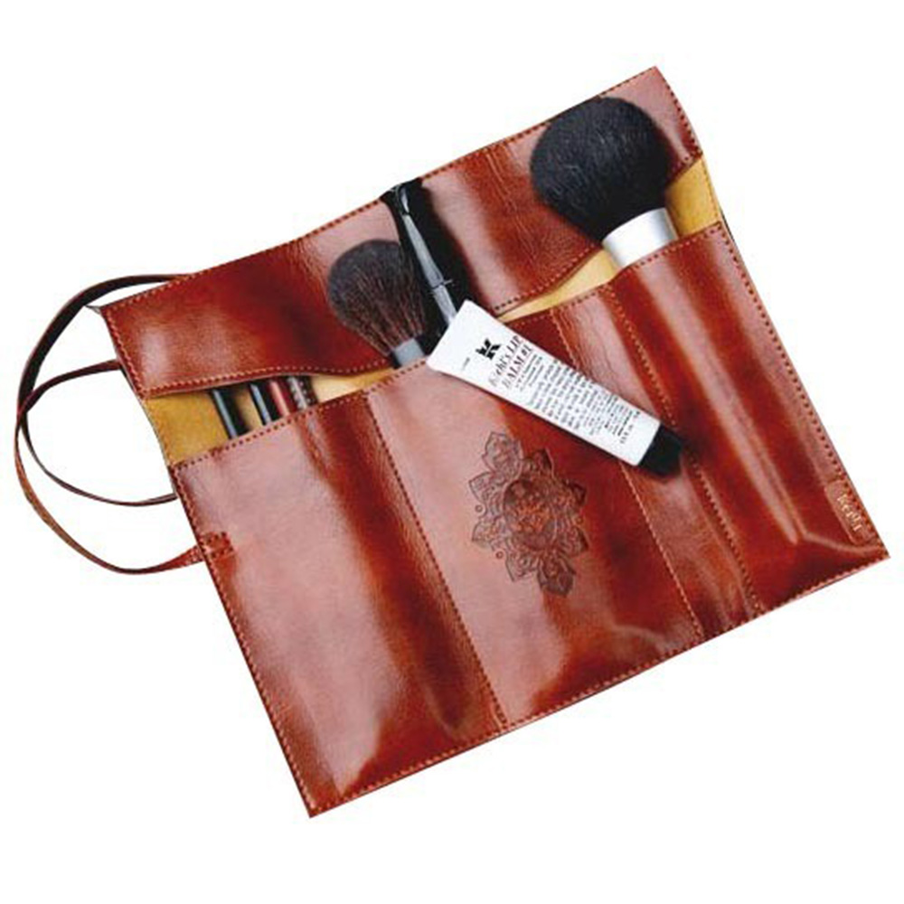 Hot Vintage Retro Roll Leather Woman Makeup Brushes School PU Cosmetic Pen Pencil Case Bag Small HG0040