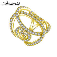 AINUOSHI 14K Solid Yellow Gold Flower Hollow Band Cluster CZ Multi Layer Twist Bague Wedding Engagement Ring for Women Jewelry - DISCOUNT ITEM  47% OFF All Category