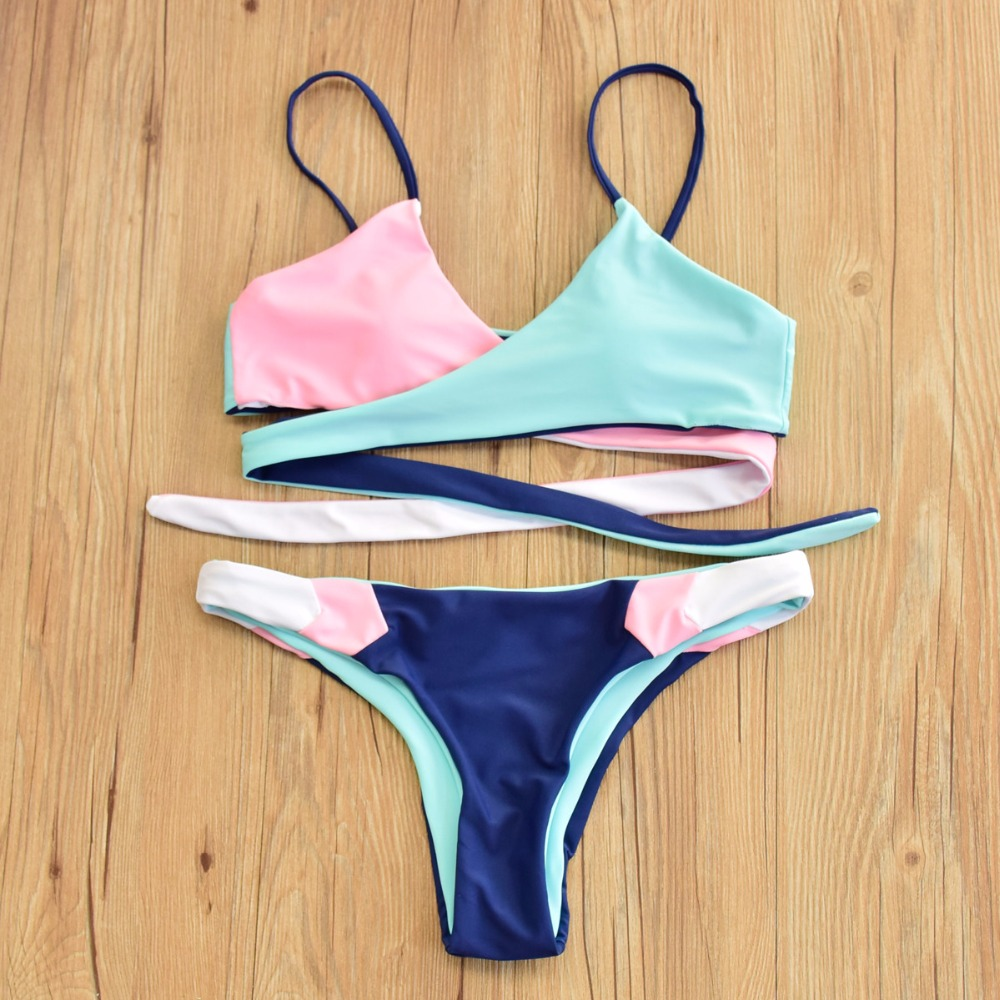 2018 Bandage Micro Sling Bikini Set Thong Swimwear Women Swimsuit Swim Bathing Suit Bather Push up Girl Brazil Tanga Beach Wear sexy tanga neon bikini strappy fluorescent colors swimsuit rainbow swim wear women s thong bottom bathing suit