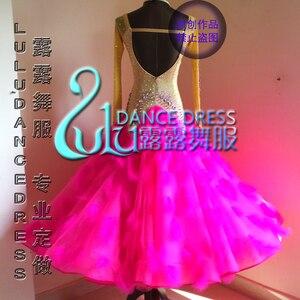 Image 2 - Valsa tango dança de salão competição ao vivo faísca senhora verde moderno personalizado de new style vestido de baile padrão