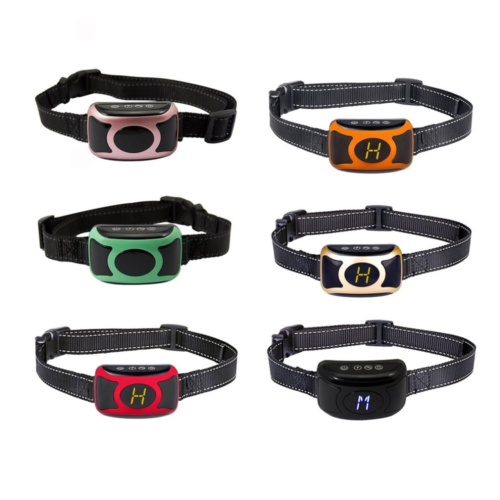 6 Colors Digital Flashing Lights Dogs Bark Collar With Smart Chip Beep Anti-barking Dog Collar Waterproof Rechargeable