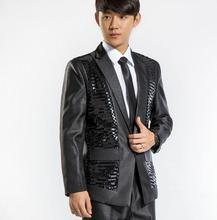 Black new arrival sequined suit jacket slim men suit set with pants mens suits wedding groom formal dress suit + pant + tie 4XL
