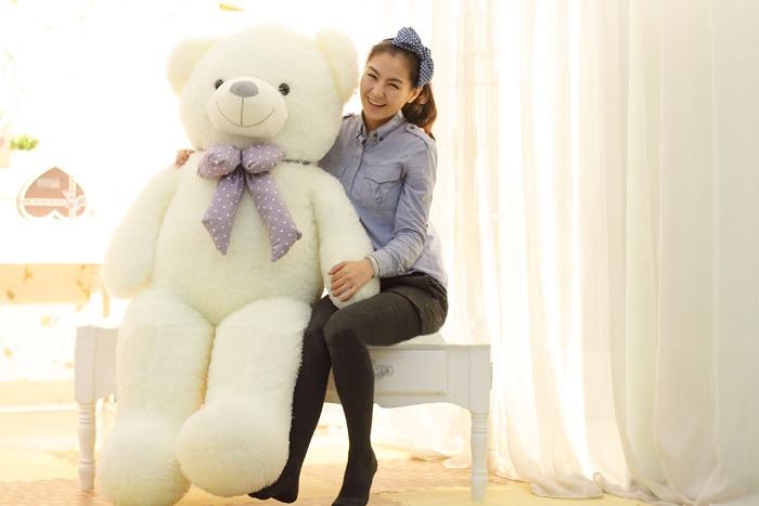 Remplissages jouet grand 120 cm Huggy ours en peluche jouet blanc ours poupée jeter oreiller cadeau w3353