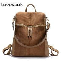LOVEVOOK Brand Fashion Women Backpack PU Leather Backpacks For Teenage Girls Large Capacity Shoulder Bags School