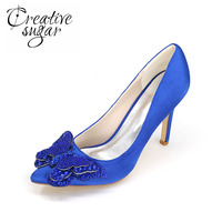 Creativesugar lady pointed toe satin dress shoes crystal 3D butterfly bridal heels wedding prom cocktail pumps purple silver