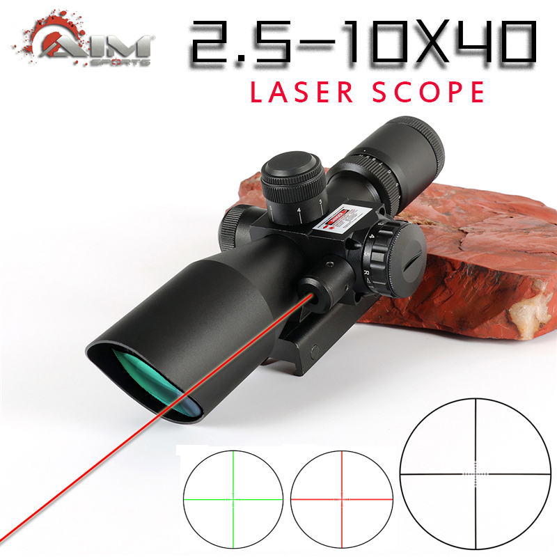 Brand 2.5-10x44 Optical Sight With Laser Riflescope Optics Rifle Sight Hunting Optical Scope Red Dot Hunter Gun Caza Accessory