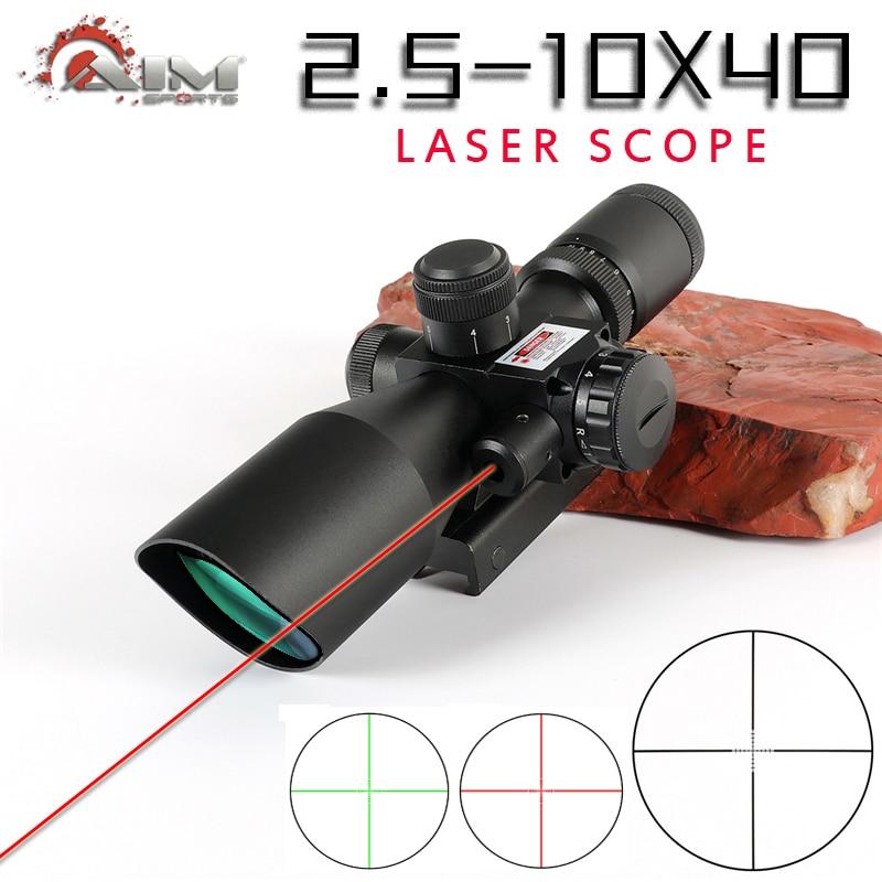 Brand 2.5-10x44 Optical Sight with laser Riflescope Optics Rifle Sight Hunting optical scope red dot Hunter Gun Caza Accessory
