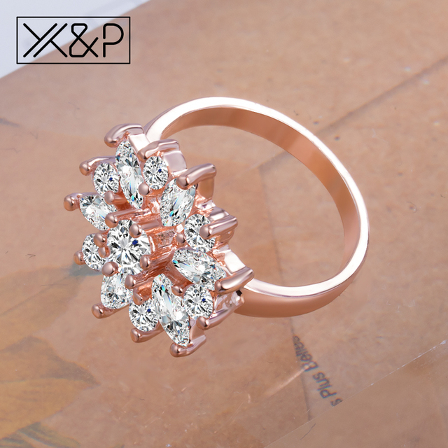 X&P Fashion Brand Rose Gold Silver Finger Rings for Women Girl with AAA Multicolor Cubic Zircon Wedding Ring Jewelry Gift