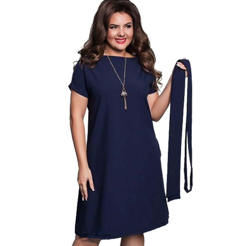 215cddd974c Elegant Casual Women Dresses Big Size Plus Size Dresses Women s Summer  Sashes O-Neck Bodycon
