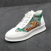 CuddlyIIPanda New Luxury Brand Men Fashion High Top Sneakers Print Tiger Casual High Shoes Men Elastic Band Microfiber Shoes