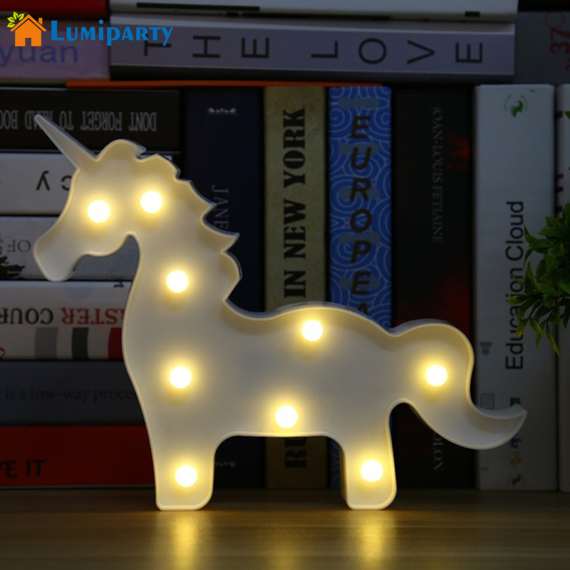 lumiparty unicorn led table lamp 3d white unicorn sign hanging light marquee letter nightlight home party - Lighted Marquee Letters