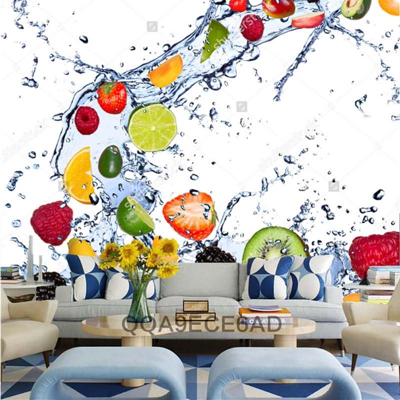 Fruit wallpaper,Fresh fruits falling in water splash,3D modern  for kitchen dining room cafe shop background wall silk mural arsenic in water for human consumption