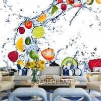 Frutta carta da parati, frutta Fresca di cadere in acqua splash, 3D moderna per sala da pranzo cucina caffè negozi sfondo muro seta murale