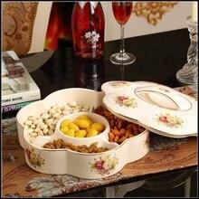цена на Europe ceramic dried fruit Candy Storage Box dish Dessert Snack Salad plate home tea table decor wedding decoration figurine