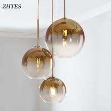 Modern gradient color glass ball chandelier led E27 parlor bedroom hotel bar decor Hang lamp Silver Gold