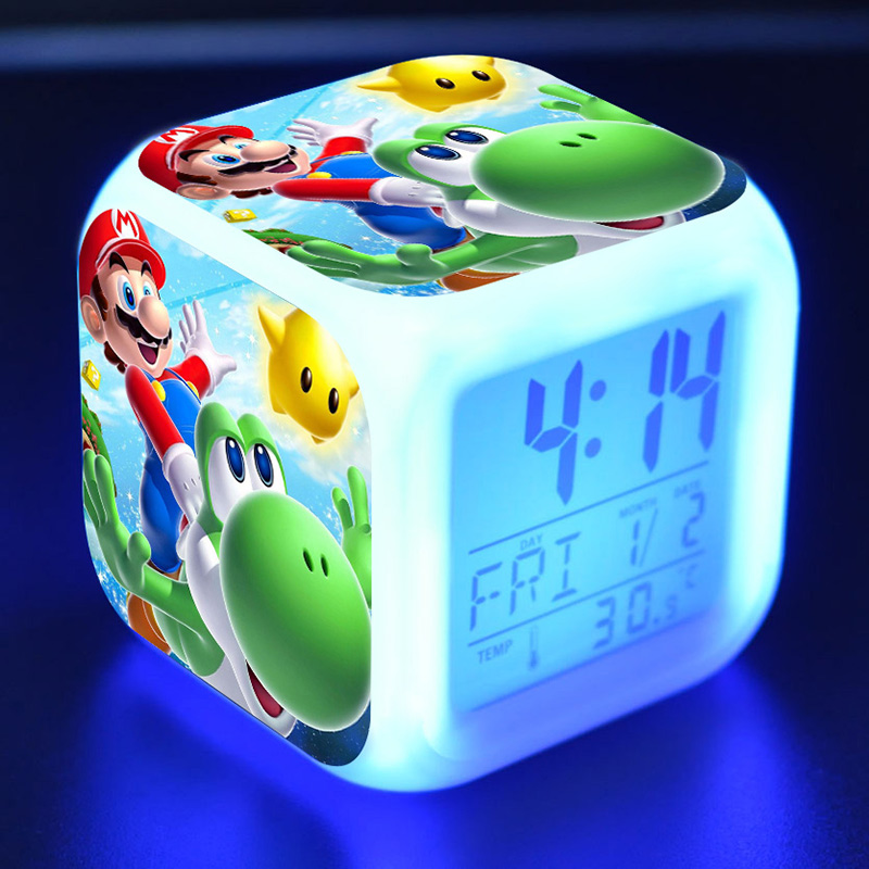 Super Mario Bros Anime Figure Juguetes Alarm Clock PVC Colorful Touch Light Super Mario Yoshi Game Character Toys for Kids