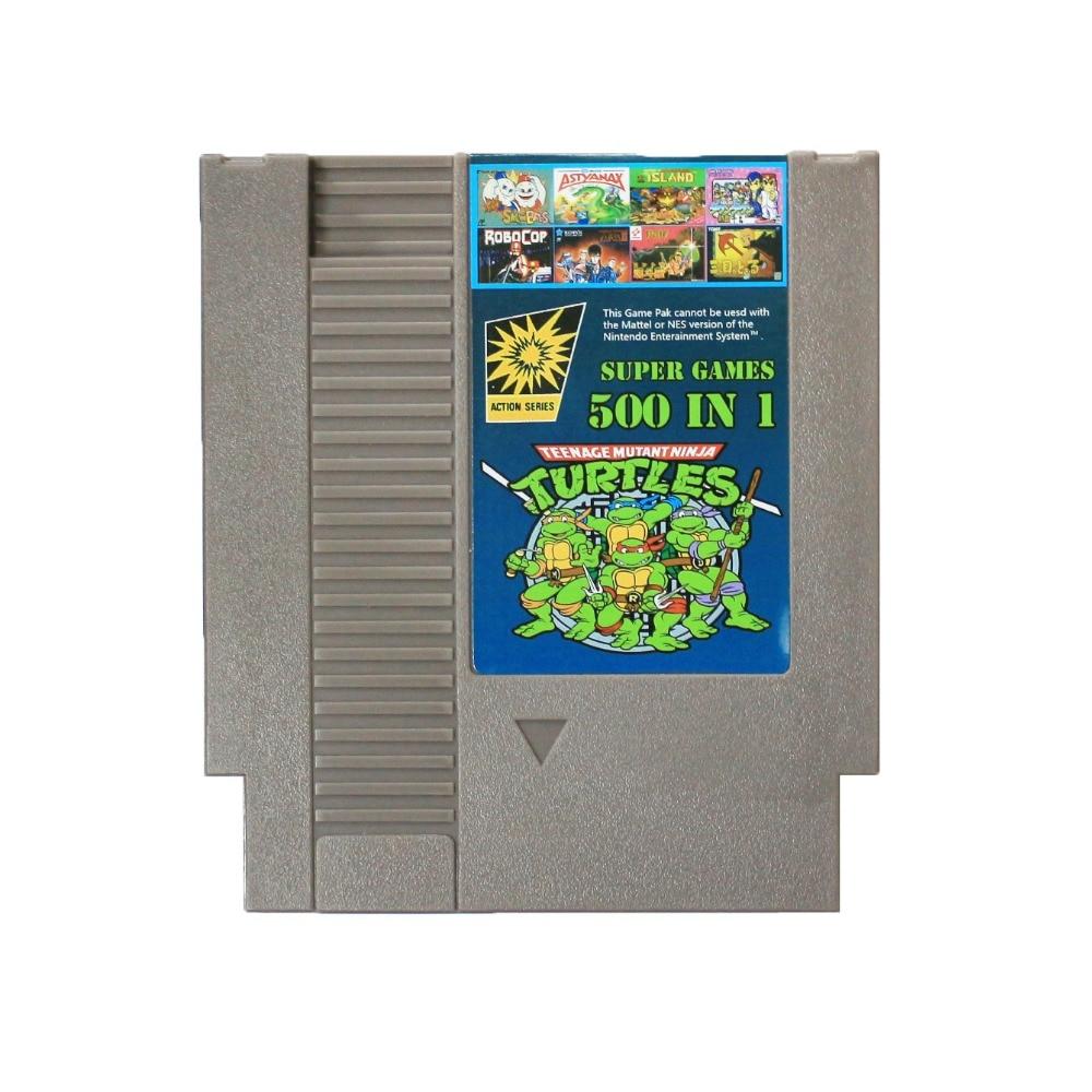 ¡Venta caliente! 500 en 1 Contra NINJA TURTL 1 2 3 4 isla aventura Bomberman P.O.W doble arrastre 72 Pins 8 tarjeta de juego del pedazo envío de la gota