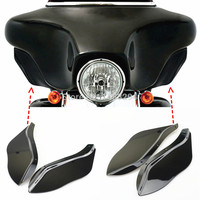 Black Plastic Side Wing Windshield Air Fits For Harley Davidson Touring FLHR FLHT FLHX 1996 2007