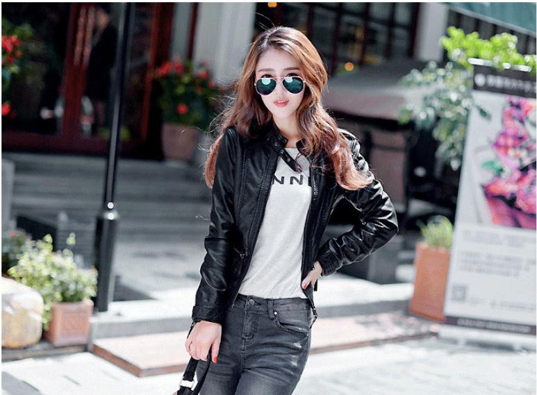 Womens Black Leather Jackets S/6Xl Large Size Motorcycle Leather Coats Female Leisure Winter And Autumn Leather Clothes J2575