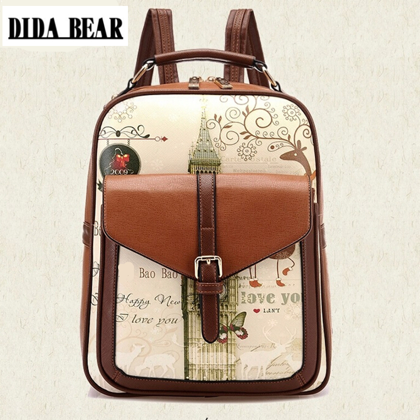 DIDA BEAR Womens PU Leather Backpack Girls School Bags for Teenagers ladies Print bag mochila feminina Sac A Dos Black Brown 2017 ethnic embroidered flower print backpacks women bags genuine leather backpack school bag sac a dos travel mochila feminina
