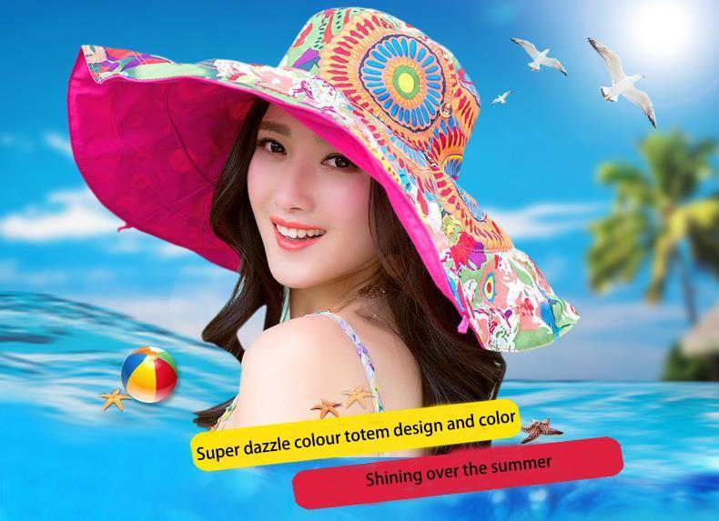 de4ac22524b 2018 Summer large brim beach sun hats for women UV protection women ...