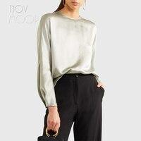 Summer ladies natural silk top and blouse back button design long sleeve silk shirt plus size roupa camisa blusa feminina LT2076