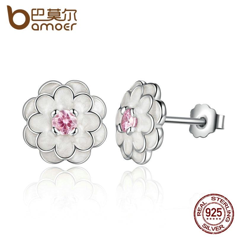 BAMOER colección de primavera esterlina 925 Plata blanco flor elegante pendientes de boda joyería de lujo de PAS462