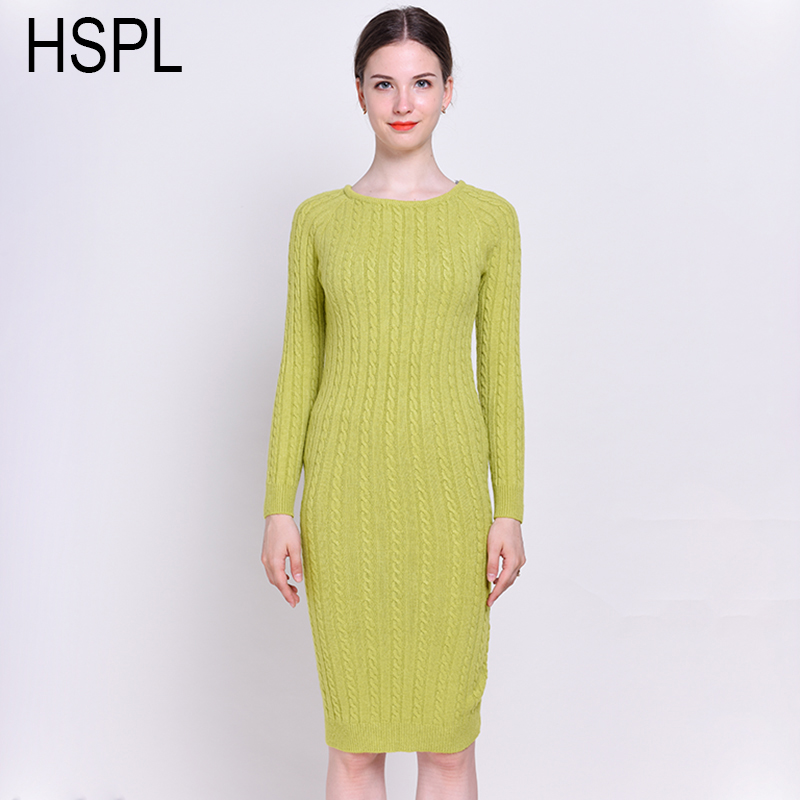 HSPL Long Sweater Dress Women 2017 Sheath Slim Knitted Pullover Long Sleeve Warm Pencil Sexy Ladies Spring Split Dresses