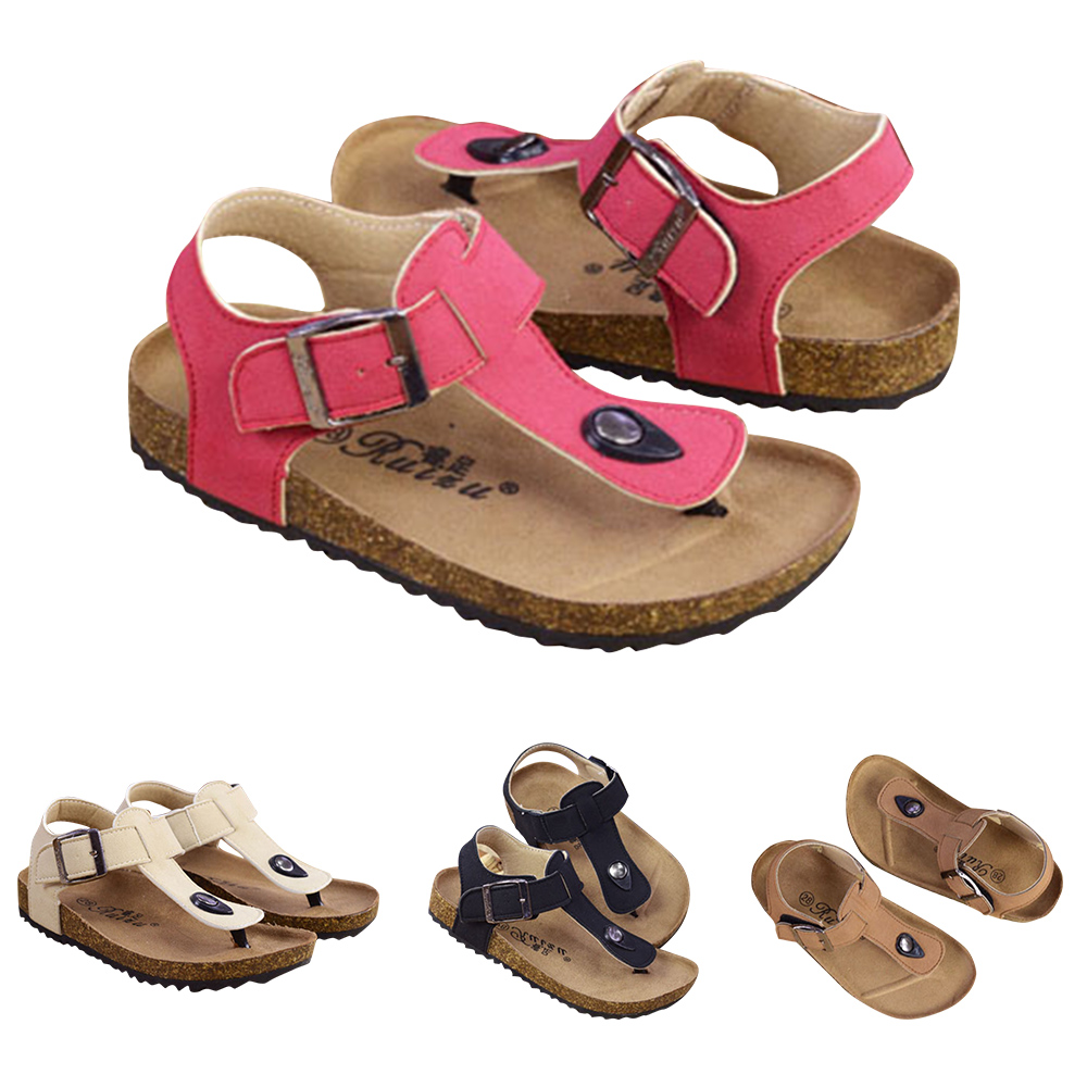 2019 Summer Boys Girls Breathable Sandals Children Buckle Leather Shoes Kids Beach Shoes For Girl Boys Cork Slipper P25 in Sandals from Mother Kids