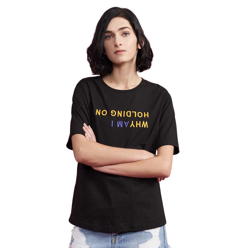 Toyouth Embroidery Letters Top Female 2019 Summer Cotton T Shirt Loose Solid O Neck Short Sleeve T Shirt Women Black White Tees t-shirt loose t-shirt for womenwomen t-shirt - AliExpress
