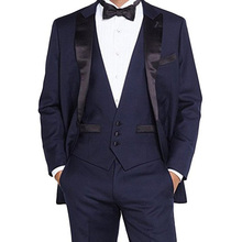 Navy Blue Wedding Groom Tuxedos for Prom Man Suit 3 Piece set Jacket Pants Vest Custom Made Gentleman Party Mens Suits new style kid party graduation suit wedding page boy tuxedos custom made 2 piece