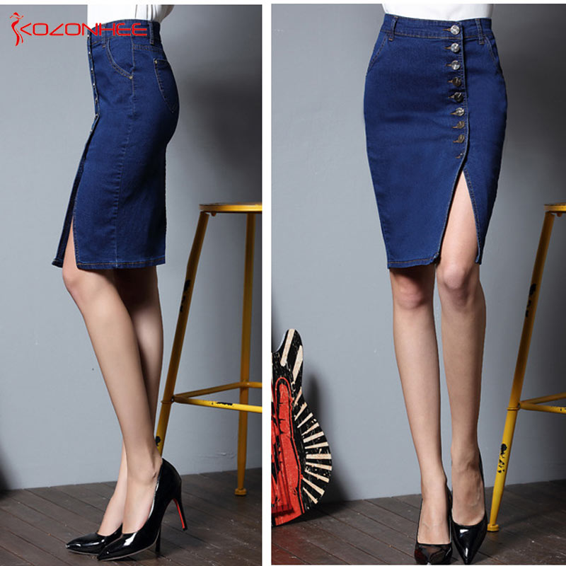 92f238997ac S 6XL Plus Size Stretch Denim Pencil Skirts With High Waist Elasticity  Women Skirt Knee Length Female Large Size  32-in Skirts from Women s  Clothing on ...