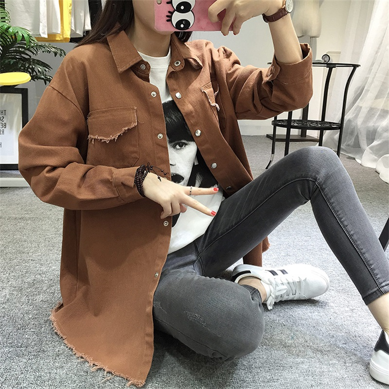 TongLord 2018 Spring Autumn New Long Lapel Tassel Denim   Jackets   Women Loose Casual Long Sleeve Female'S Thin   Basic     Jacket   Coats