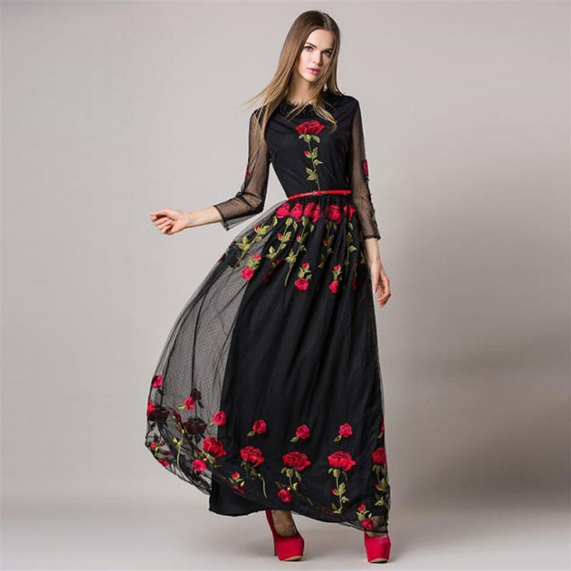UNIQUEWHO Girls Women Luxury Embroidery Dress Black Cream Mesh Dress Red Rose Flower Slim Maxi Dress Spring Summer Party Dresses
