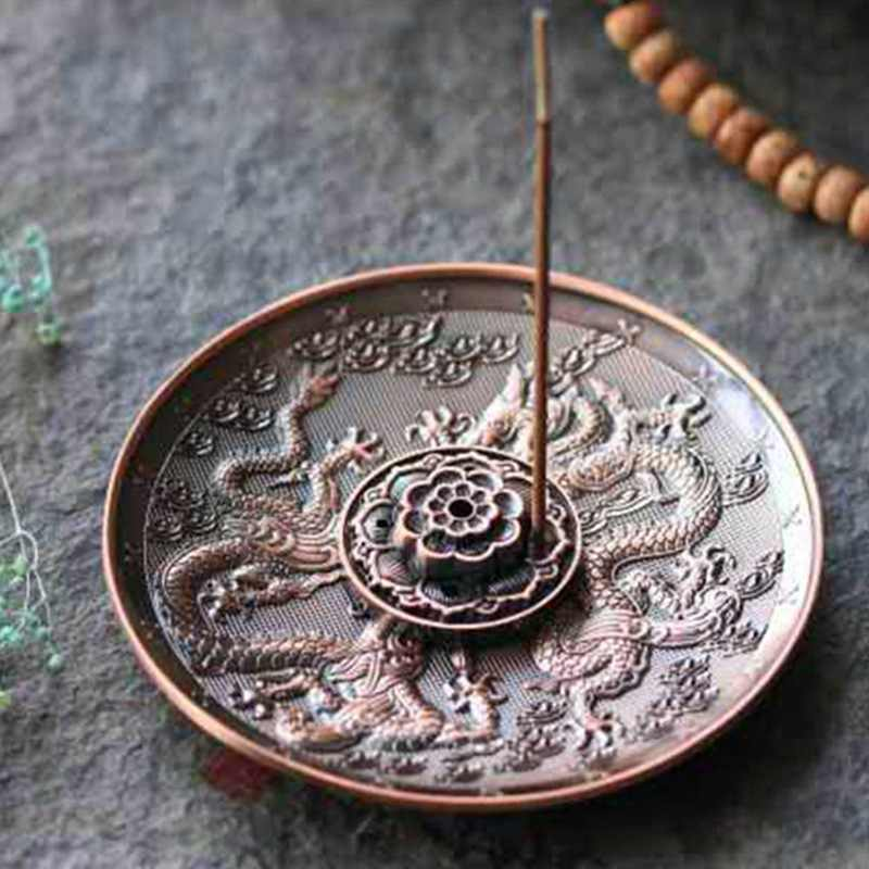 Chinese Style Zinc Alloy Incense Stick Burner Holder Dragon Pattern Censer Plate For Candle Aromatherapy Furnace Incense Base