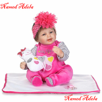 NPK silicone reborn baby dolls 16 loverly newborn baby girl dolls with snow white plush doll bebe realistic reborn bonecas